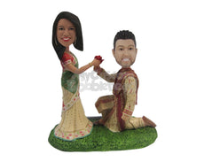 Custom Bobblehead Indian Traditional Wedding Proposal - Wedding & Couples Couple Personalized Bobblehead & Cake Topper