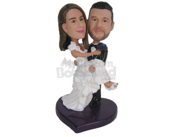 Custom Bobblehead Handsome Groom Carrying Gorgeous Bride In His Arms - Wedding & Couples Bride & Groom Personalized Bobblehead & Cake Topper
