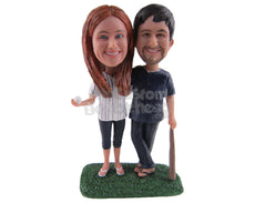 Custom Bobblehead Baseball Fan Couple Ready To Have A Ball - Wedding & Couples Sports Couples Personalized Bobblehead & Cake Topper