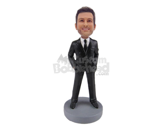 Custom Bobblehead Handsome Groom Or Groomsman In Formal Wedding Attire - Wedding & Couples Groomsman & Best Men Personalized Bobblehead & Cake Topper