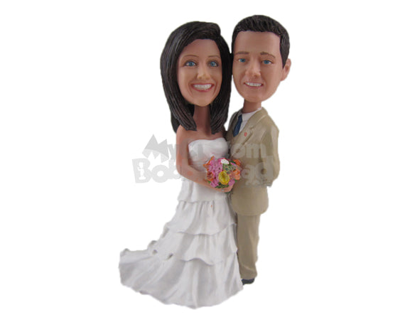 Custom Bobblehead Just Married Couple Ready For The Photo Shoot Session - Wedding & Couples Bride & Groom Personalized Bobblehead & Cake Topper