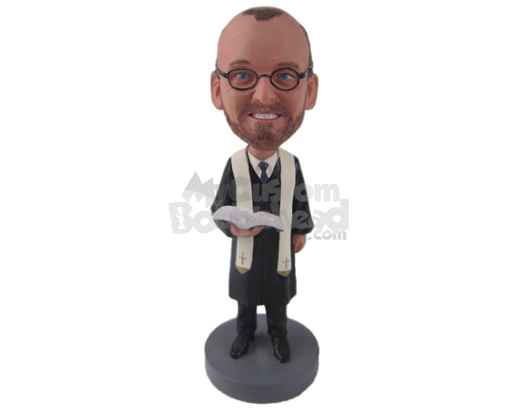Custom Bobblehead Catholic Priest Ready For The Ceremony - Wedding & Couples Priests & Officiants Personalized Bobblehead & Cake Topper