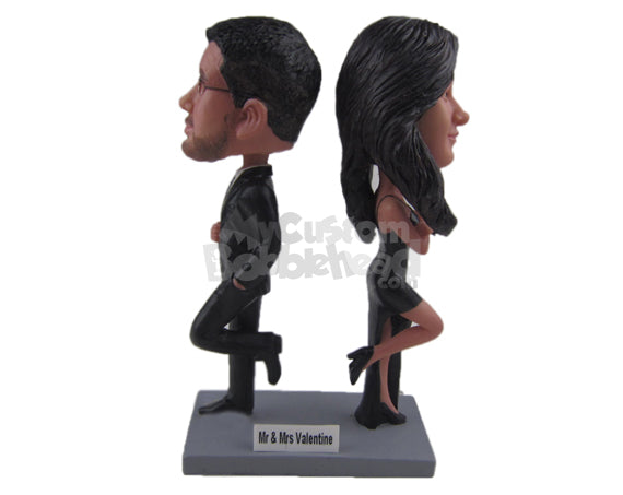 Custom Bobblehead James Bond Wedding Couple In Sexy Formal Attire - Wedding & Couples Couple Personalized Bobblehead & Cake Topper