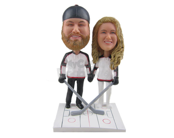 Custom Bobblehead Ice Hockey Fan Couple Wearing Ice Hockey Outfit Ready For A Game - Wedding & Couples Couple Personalized Bobblehead & Cake Topper