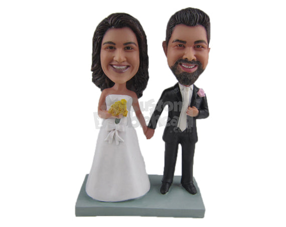Custom Bobblehead Beautiful Just Married Couple In Wedding Attire - Wedding & Couples Bride & Groom Personalized Bobblehead & Cake Topper