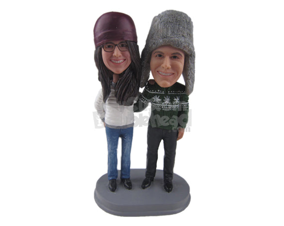 Custom Bobblehead Couple Out For A Walk Wearing Winter Outfits - Wedding & Couples Couple Personalized Bobblehead & Cake Topper