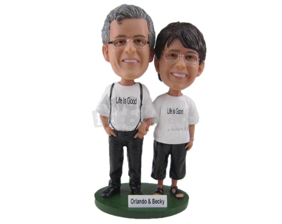 Custom Bobblehead Cute Couple Wearing Casual Outfits Holding Hands - Wedding & Couples Couple Personalized Bobblehead & Cake Topper