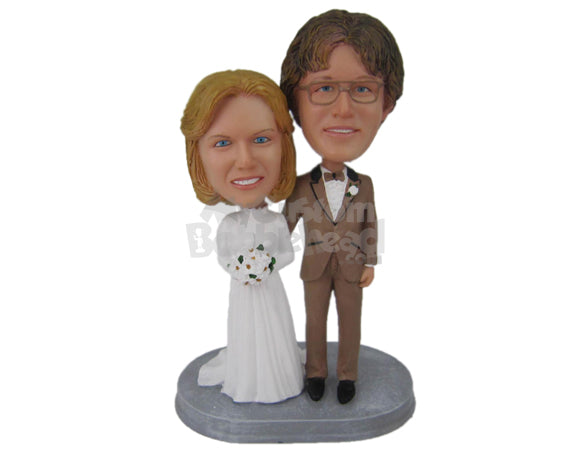 Custom Bobblehead Classic Wedding Couple Posing After Their Wedding - Wedding & Couples Bride & Groom Personalized Bobblehead & Cake Topper
