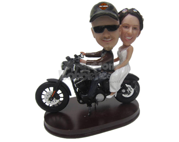 Custom Bobblehead Classy Wedding Couple Riding On A Bike - Wedding & Couples Couple Personalized Bobblehead & Cake Topper
