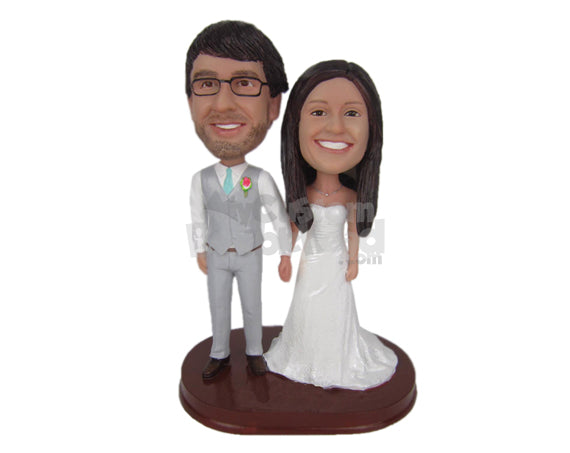 Custom Bobblehead Cheerful Wedding Couple Holding Hands - Wedding & Couples Bride & Groom Personalized Bobblehead & Cake Topper