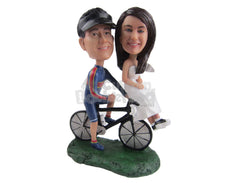 Custom Bobblehead Cycling Groom And Classic Bride On A Fast Bicycle - Wedding & Couples Couple Personalized Bobblehead & Cake Topper