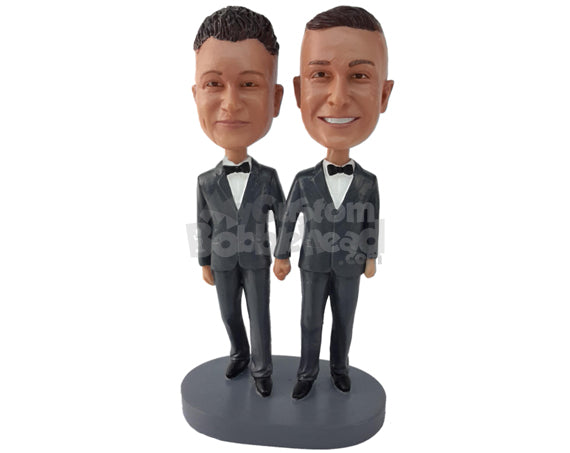 Custom Bobblehead Gay Same Sex Wedding Couple In Wedding Attire Holding Hands - Wedding & Couples Same Sex Personalized Bobblehead & Cake Topper