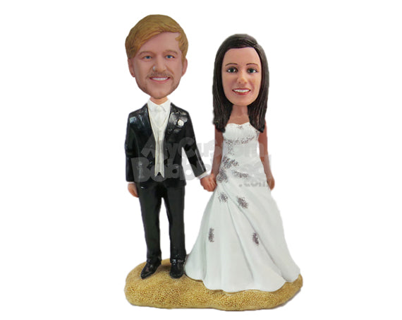 Custom Bobblehead Lovely Couple In Their Wedding Attire Holding Each Others Hands - Wedding & Couples Bride & Groom Personalized Bobblehead & Cake Topper