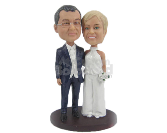 Custom Bobblehead Happily Married Couple In Wedding Attire With A Bouquet In Hand - Wedding & Couples Bride & Groom Personalized Bobblehead & Cake Topper