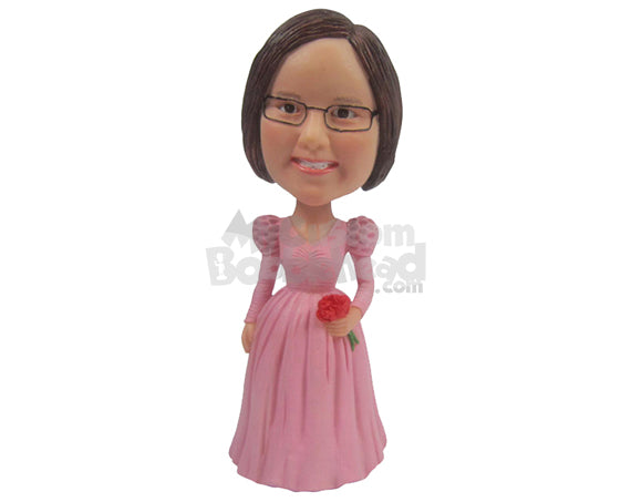 Custom Bobblehead Cute Flower Girl Wearing Charming Gown - Wedding & Couples Flower Girls Personalized Bobblehead & Cake Topper