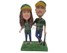 Custom Bobblehead Baseball Fan Couple Posing For Pictures - Wedding & Couples Couple Personalized Bobblehead & Cake Topper