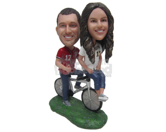 Custom Bobblehead Cycling Loving Couple On A Fast Bicycle - Wedding & Couples Couple Personalized Bobblehead & Cake Topper