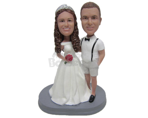 Custom Bobblehead Groom In Shorts And Suspenders And Bride In Wedding Gown - Wedding & Couples Bride & Groom Personalized Bobblehead & Cake Topper