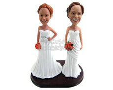 Custom Bobblehead Lesbian Same Sex Couple At Their Wedding Wearing Gowns With Bouquet In Hand - Wedding & Couples Same Sex Personalized Bobblehead & Cake Topper