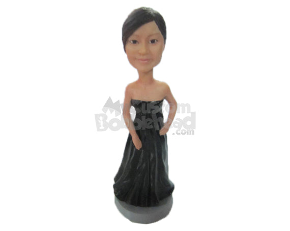 Custom Bobblehead Bridesmaid Wearing A Sexy Strapless Gown - Wedding & Couples Bridesmaids Personalized Bobblehead & Cake Topper