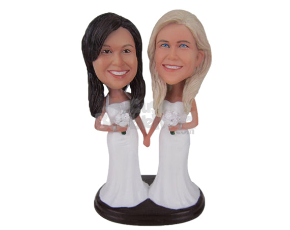 Custom Bobblehead Gorgeous Lesbian Same Sex Couple Holding Hands In Their Wedding Attire - Wedding & Couples Same Sex Personalized Bobblehead & Cake Topper