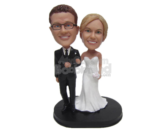 Custom Bobblehead Charming Couple In Wedding Attire Holding Each Others Hands - Wedding & Couples Bride & Groom Personalized Bobblehead & Cake Topper
