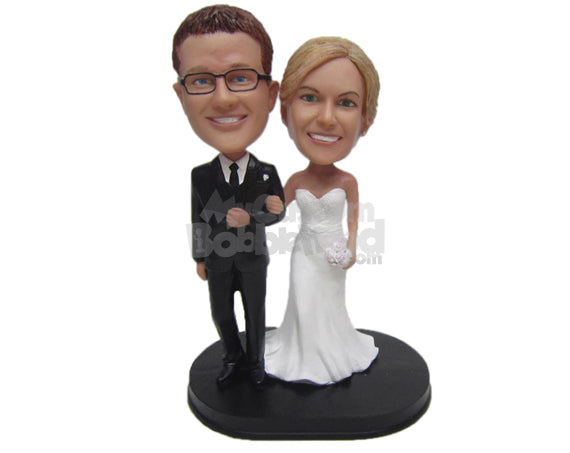 Custom Bobblehead Classic Wedding Couple In Formal Attire - Wedding & Couples Bride & Groom Personalized Bobblehead & Cake Topper