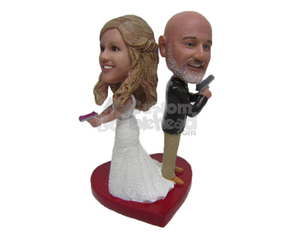 Custom Bobblehead James Bond Themed Wedding Couple Holding Powerful Guns - Wedding & Couples Bride & Groom Personalized Bobblehead & Cake Topper