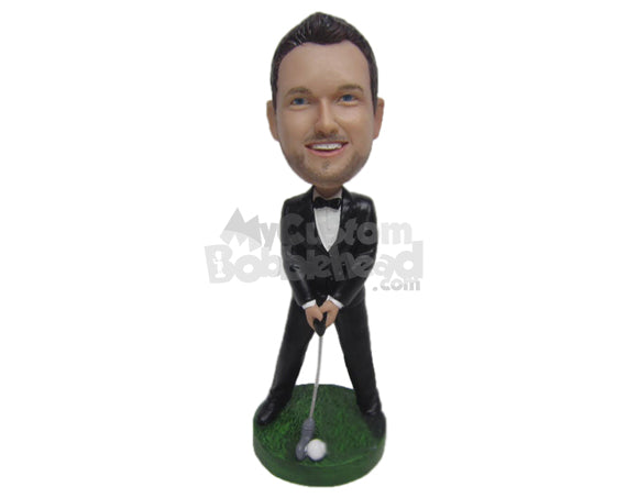 Custom Bobblehead Best Man Golfer In Classy Formal Outfit - Wedding & Couples Groomsman & Best Men Personalized Bobblehead & Cake Topper