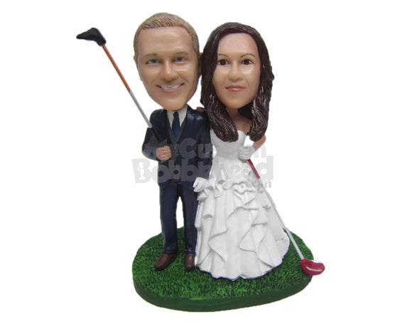 Custom Bobblehead Golf Loving Wedding Couple In Wedding Outfit With A Golf Clubs In Hand - Wedding & Couples Bride & Groom Personalized Bobblehead & Cake Topper