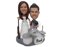Custom Bobblehead Drummer Groom And Hunter Bride Wedding Couple - Wedding & Couples Couple Personalized Bobblehead & Cake Topper