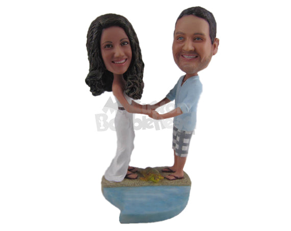 Custom Bobblehead Beach Themed Wedding Couple In Shorts And Gown - Wedding & Couples Couple Personalized Bobblehead & Cake Topper