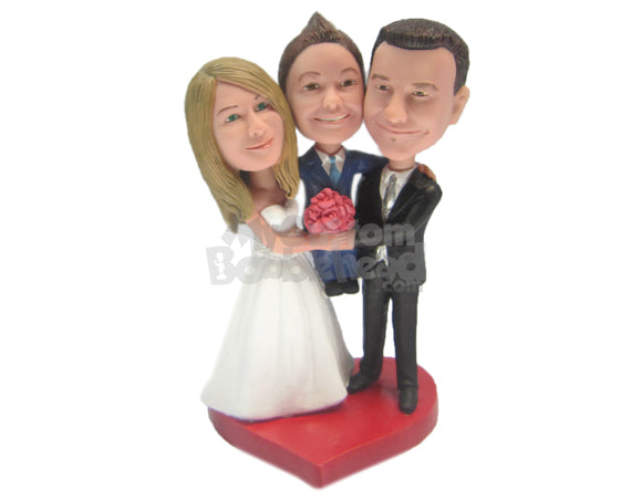 Custom Bobblehead Bride, Groom And Son Wedding Trio - Wedding & Couples Bride & Groom Personalized Bobblehead & Cake Topper