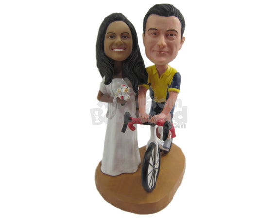 Custom Bobblehead Cycling Loving Wedding Couple - Wedding & Couples Bride & Groom Personalized Bobblehead & Cake Topper