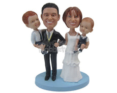Custom Bobblehead Bride, Groom And 2 Kids Wedding Design - Wedding & Couples Bride & Groom Personalized Bobblehead & Cake Topper