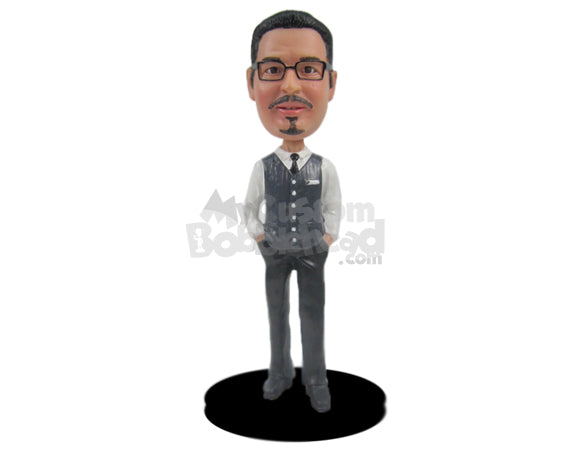 Custom Bobblehead Dashing Best Man In Formal Attire With Hands In Pocket - Wedding & Couples Groomsman & Best Men Personalized Bobblehead & Cake Topper