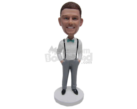 Custom Bobblehead Best Man In Suspender With Both Hands In Pockets - Wedding & Couples Groomsman & Best Men Personalized Bobblehead & Cake Topper