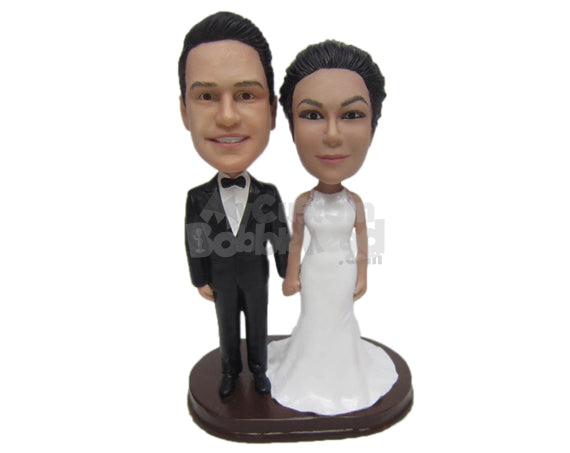 Custom Bobblehead Attractive Wedding Couple In Wedding Attire - Wedding & Couples Bride & Groom Personalized Bobblehead & Cake Topper