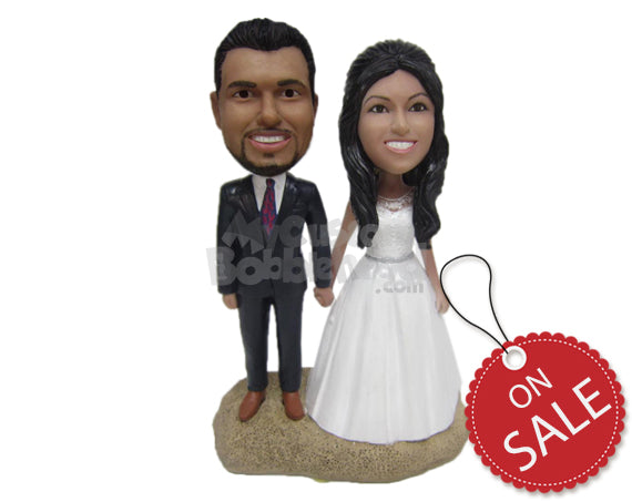 Custom Bobblehead Attractive Wedding Couple In Wedding Attire Holding Hands - Wedding & Couples Bride & Groom Personalized Bobblehead & Cake Topper
