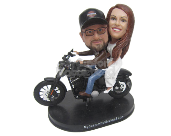 Custom Bobblehead Hardcore Biker Wedding Couple - Wedding & Couples Couple Personalized Bobblehead & Cake Topper