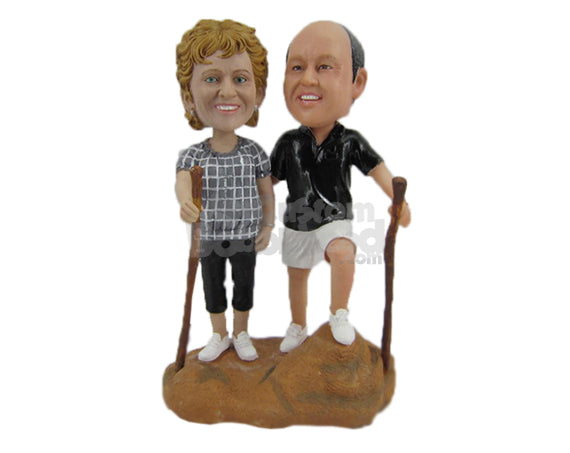 Custom Bobblehead Lovely Hiker Couple Wearing Casual Attire And Ready To Go For A Hike - Wedding & Couples Couple Personalized Bobblehead & Cake Topper