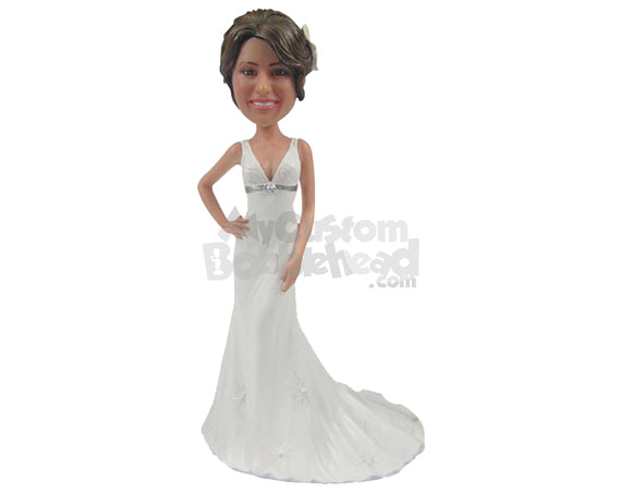 Custom Bobblehead Lovely Bride Ready For Her Wedding Wearing Gorgeous Wedding Gown - Wedding & Couples Brides Personalized Bobblehead & Cake Topper