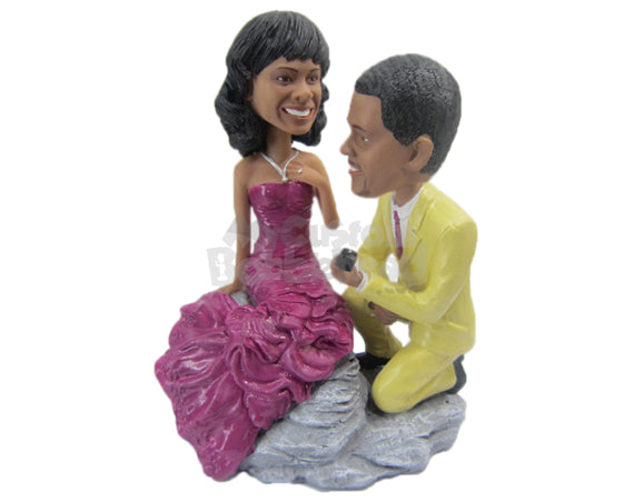 Custom Bobblehead Delightful Wedding Proposal In A Rocky Mountain - Wedding & Couples Couple Personalized Bobblehead & Cake Topper