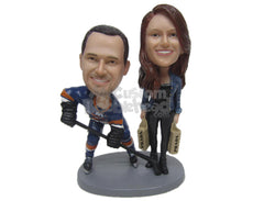Custom Bobblehead Hockey And Shopping Loving Couple In Sports And Casual Outfits - Wedding & Couples Couple Personalized Bobblehead & Cake Topper