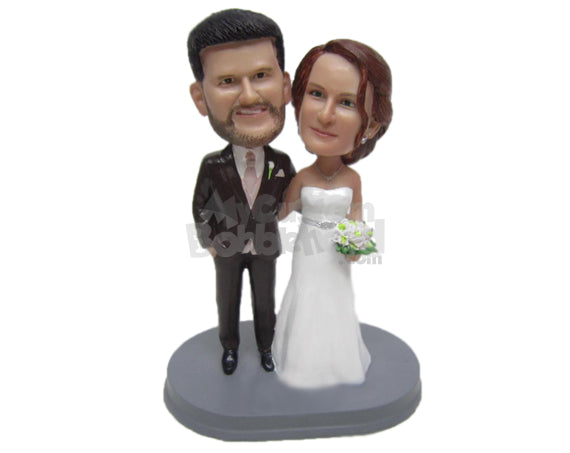 Custom Bobblehead Charming Wedding Couple In Wedding Attire With A Bouquet In Hand - Wedding & Couples Bride & Groom Personalized Bobblehead & Cake Topper