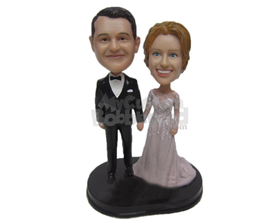 Custom Bobblehead Classy Wedding Couple In Gorgeous Wedding Attire - Wedding & Couples Bride & Groom Personalized Bobblehead & Cake Topper