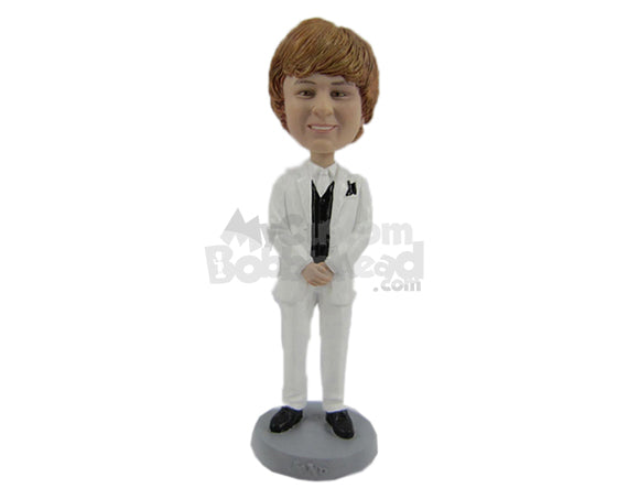 Custom Bobblehead Groom In Wedding Attire Ready For His Wedding - Wedding & Couples Grooms Personalized Bobblehead & Cake Topper