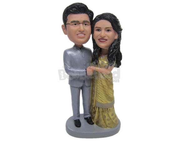 Custom Bobblehead Indian Couple Wearing Traditional Indian Wedding Attire - Wedding & Couples Couple Personalized Bobblehead & Cake Topper