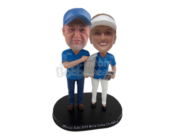 Custom Bobblehead Baseball Champion Proud Couple Holding Major League Trophy - Wedding & Couples Couple Personalized Bobblehead & Cake Topper