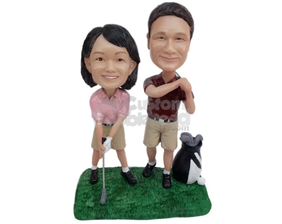 Custom Bobblehead Golfing Couple Holding Golf Clubs Ready To Hit A Hole In One - Wedding & Couples Couple Personalized Bobblehead & Cake Topper